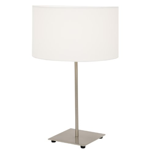 Home Design, Bergen Table Lamp with White Shade (Polished Steel)