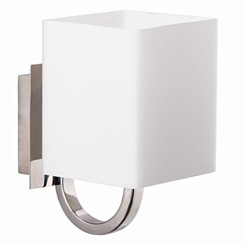 Applique style moderne, armature en métal couleur chrome, plafonnier en verre blanc, carré 1 ampoule incl. halogène G9 1x20W 230V