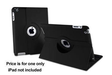 Tenergy (Black) 360 Degree Rotating Leather Case For Apple Ipad 2Nd, 3Rd & 4Th Generation