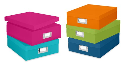 Whitmor 6754-491-5 Plastic Document Boxes Set of 5 Assorted Colors