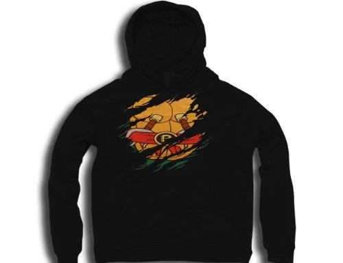DTG Clothing Retro teenage mutant ninja turtles raphael ripped effect under shirt tmnt Mens Hoodies - Black - Mens Small