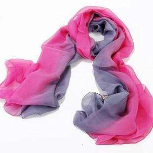 Women'S 100% Silk Luxury Long Scarf Gradient Color - Grey Rose