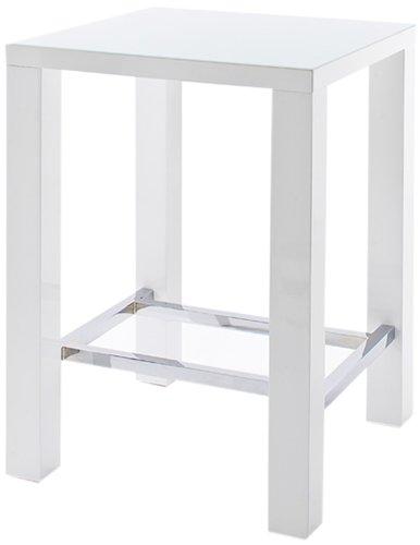 Jam-Bartisch-4-Fu-Tischplatte-Glas-lackiert-Farbe-Hochglanz-wei-Gestell-4-Fu-mit-Chromverstrebung-Mae-in-BHT-ca-80x108x80-cm