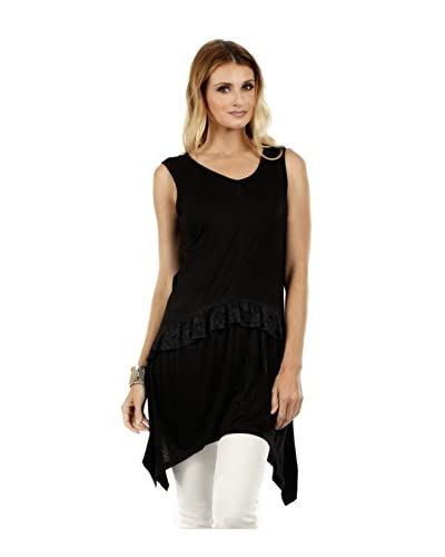 Simply Aster Women's Lace Ruffle Band Sharkbite Tunic