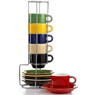 Gibson Sensations 13 Piece Espresso set with Metal Rack Stackable 5 oz Espresso cup set with saucers and with metal rack, multicolor (Microwave Stand Espresso compare prices)