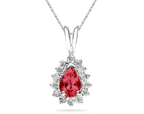 Pear Shaped Ruby and Diamond Flower Pendant in 14k White Gold