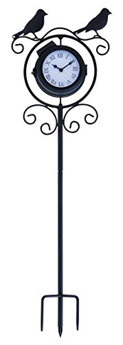 Deco 79 35424 Metal Outdoor Clock Thermometer, 9 by 30-Inch
