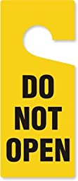 Do Not Open, PVC Vinyl Door Hanger, Claw Shaped, 6 Tags / Pack, 8.875\