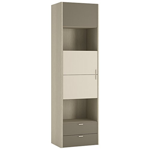 Mobilier Pour Passer Vacances 3 portes 2 tiroirs Grande armoire - 56 x 193 x 40 cm, chêne clair/crème