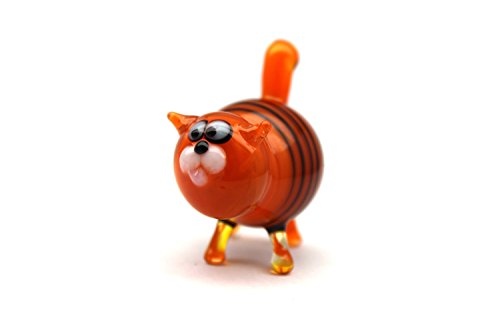 Glass Cat Figurine Hand-Blown Collectible Art Glass Glass Cat Sculpture Glass Cat Figurine Homedecor Murano Art Gifts Miniature Blown Cats