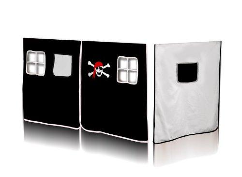 paringda rideaux pirate noir blanc pour lit sur lev vh 1036. Black Bedroom Furniture Sets. Home Design Ideas
