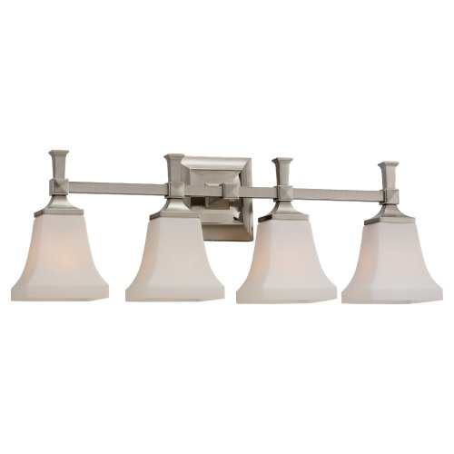 Nice Sea Gull Lighting Bath Vanity with Cased Opal Etched Glass Shades Brushed Nickel Finish