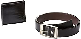 Mango People Combo of Black H-Belt and wallet for Men