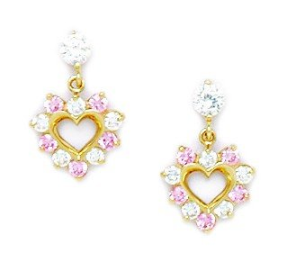 14ct Yellow Gold Pink CZ Heart Drop Screwback Earrings - Measures 14x9mm