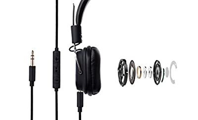 Karnotech® REMAX Wired Over-Ear Headphones HD Stereo Headset In-line Mic Volume Control 3.5mm Folding Gaming Earphones For iOS Android Smartphones Tablets PC (RM-100H Black)