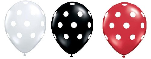 36ct Assorted Red Black Clear Balloons with White Polka Dots