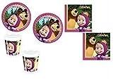 Procos - Juego de vajilla para cumpleaños (72 piezas: 16 platos, 16 vasos, 40 servilletas), diseño de Masha y el oso