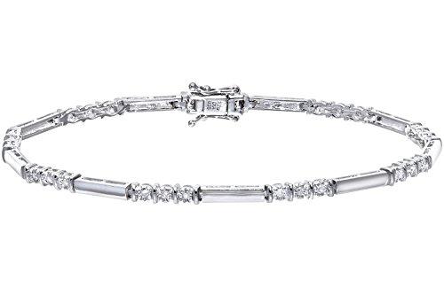 Naava Women's 0.25 ct Diamond 9 ct White Gold Trioligy Bracelet