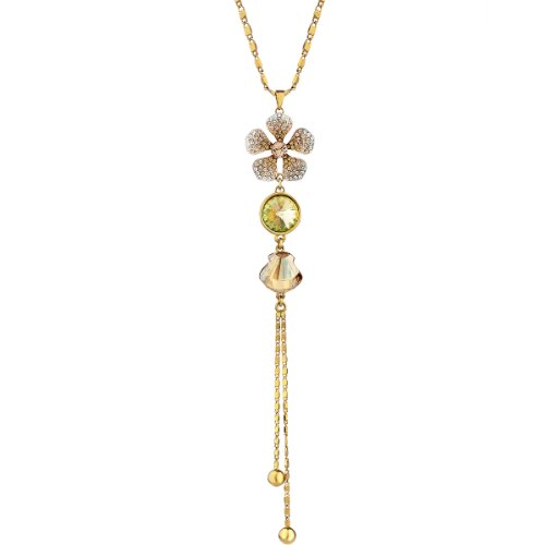 Neoglory Five Leaves' Flower Pendant Necklace Chain with Champagne Crystal & Rhinestone Gold Plated Jewelry Accessory