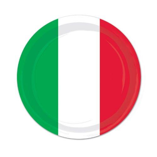 Red, White & Green Plates   (8/Pkg)