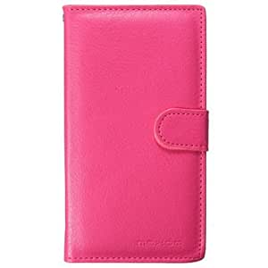 Mohoo Magnetic Flip Leather Wallet Card PC Back Cover Case With Strap for Lenovo A536-Rose Red