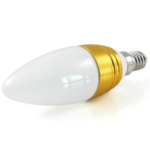 MENGS® E14 3W LED Blunt Tip Kerze Licht Birne SMD LEDs LED lampe Leuchtmittel mit Aluminium-Gehäuse & Glas-Abdeckung (Kaltweiß 5500-6500K, 240lm, Ø36 x 116mm, 200 Grad, 85V - 265V AC, Golden) Energiespar lampe
