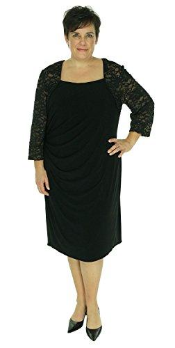 Alex Evenings Women's Lace Sleeve Matte Jersey Dress Black 20