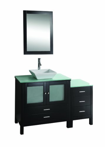 Virtu USA MS-4454 Brentford 54-Inch Single Sink Bathroom Vanity with Tempered Glass Countertop and Mirror, Espresso Finish