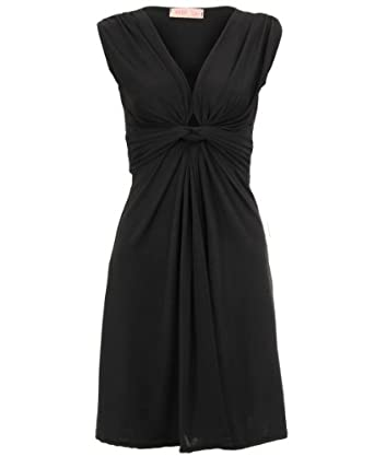 KRISP® Womens Ruched Draped Twisted Knot Front Mini Sleeveless V neck float Dress Tie Belted Party Summer Casual Beach Size 8 10 12 14 16 18 (9354) (8, Black)