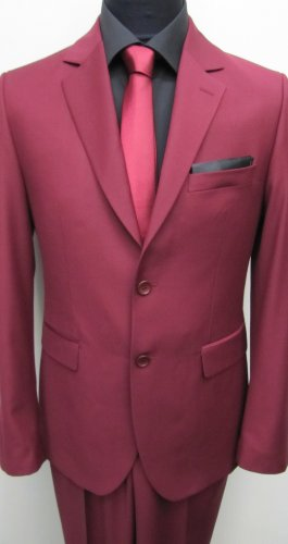 MUGA Modern Slim-fit Men's Suit 2-Piece, Burgundy, Size 46R (EU 56)