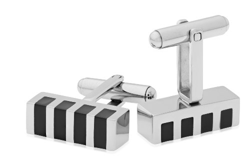 Miore Stainless Steel Cufflinks with Black Enamel Stripes CM003