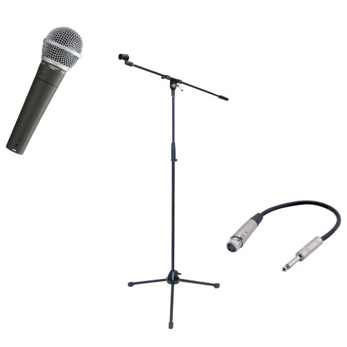 Pyle Mic And Stand Package - Pdmic58 Professional Moving Coil Dynamic Handheld Microphone - Pmks2 Tripod Microphone Stand W/Boom - Ppfmxlr01 12 Gauge 6 Inch 1/4'' To Xlr Female Cable