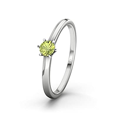 21DIAMONDS Women's Ring Mérida Peridot Round Brilliant Cut Engagement Ring - Silver Engagement Ring