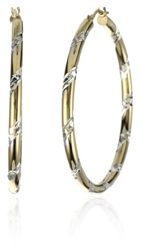 Orofusion Girl's 10k and Sterling Silver Diamond Cut Two Tone Hoop Earrings