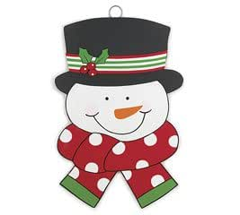 Jolly Snowman Wall Hanging Christmas Believe Wooden