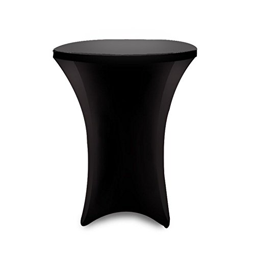 36 Inch Linen Spandex Fitted Stretchable Round Tablecloth for Cocktail Table, 36 By 42 Inch, Black (Cocktail Table Tablecloth compare prices)