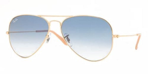 Large Gold Frame Glasses : Ray-Ban RB3025 Aviator Sunglasses,Gold Frame/Crystal Blue ...