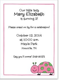 Pink And Green Ladybug Invitations front-979036