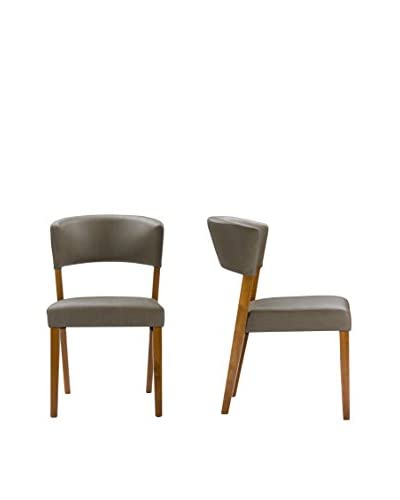 Baxton Studio Montreal Set of 2 Dining Chairs, Brown Walnut