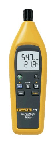 Fluke 971 Temperature Humidity Meter with Backlit Dual Display, -20 to 60 Degree C Temperature, 0.1 Degree C Resolution, 0 to 55 Degree C Humidity - 1