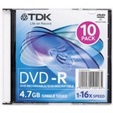 TDK - 10 x DVD-R - 4.7 GB 16x - slim jewel case - storage media