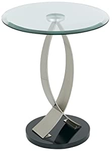 Powell Brushed Chrome, Black Poly and Glass Round Chairside Table