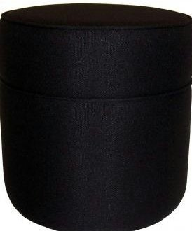 Round Microsuede/Microfabric Ottoman Stool Coffee Table -BLACK
