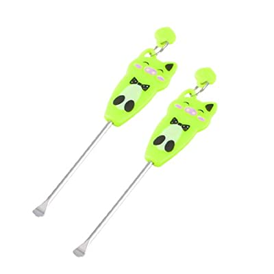 Green Cartoon Pig Pattern Earpick Earwax Ear Wax Remover Ears Care Tool 2 Pcs