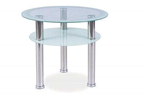 Glastisch 39 pedro d 39 couchtisch chrom glas 60x60 h he 50cm rund for Couchtisch 60x60 glas
