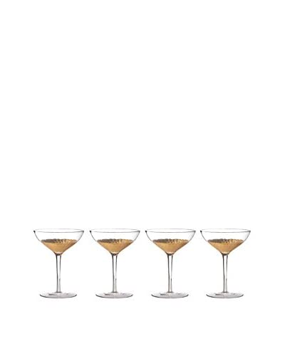 Fitz & Floyd Daphne Set of 4 Gold-Tone 10-Oz. Coupe Champagne Glasses