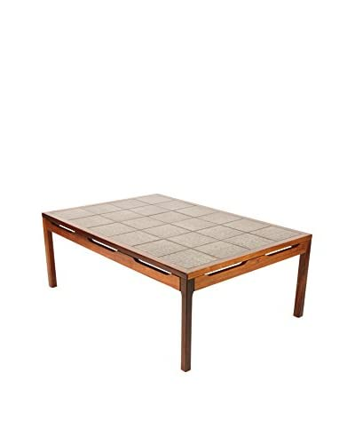 1960s Mid-Century Modern Tile Top Center Table, Brown/Green/Grey