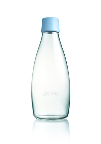 Retap ApS 0.8 Litre Large Borosilicate Glass Water Bottle, Baby Blue