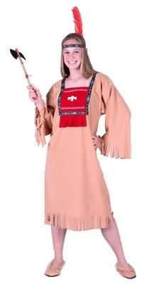 RED (not Tan as shown) Teen Running Brook Indian Girl Costume (Weapon not included)
