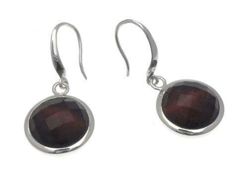 Silver Red Tigers- Eye Faceted Crystal Domed Earrings